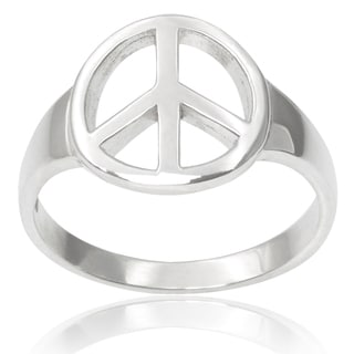 Tressa Collection Sterling Silver Peace Sign Ring