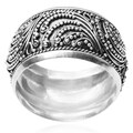 Tressa Collection Sterling Silver Bali Design Band (11 MM)