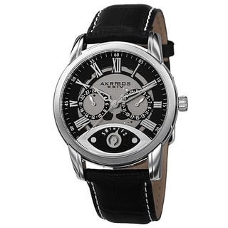 Akribos XXIV Men's Multifunction Step Dial Leather Strap Watch