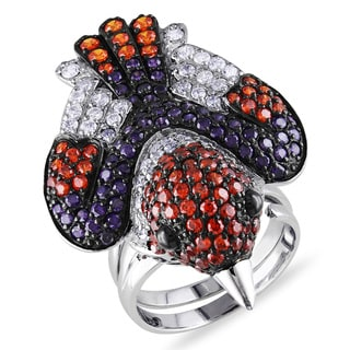 Miadora Sterling Silver Multi-color Cubic Zirconia Critter Ring