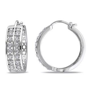 Miadora Sterling Silver 1/5ct TDW Diamond Hoop Earrings (H-I, I2-I3)