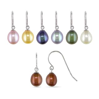M by Miadora Sterling Silver 7pc Set of Freshwater Multi-colored Pearl Dangle Earrings (7-8 mm)