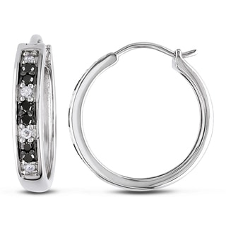 Miadora Sterling Silver 1/3ct TDW Black and White Diamond Hoop Earrings (I-J, I2-I3)