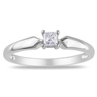 Miadora 10k White Gold 1/5ct TDW Diamond Solitaire Ring (K-L, I2-I3)