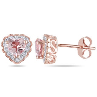 Miadora 10k Rose Gold Morganite and 1/10ct TDW Diamond Earrings Heart (H-I, I2-I3)