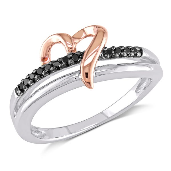 Haylee Jewels Two-tone Silver Black Diamond Accent Heart Ring
