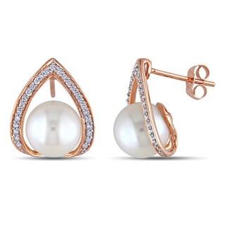 Miadora 10k Rose Gold Cultured Freshwater Pearl and 1/4ct TDW Diamond Earrings (H-I, I2-I3)