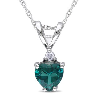 Miadora 10k White Gold Simulated Emerald and Diamond Accent Heart Necklace