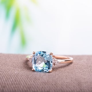 Miadora 10k Rose Gold Sky Blue Topaz and Diamond Accent Cocktail Ring