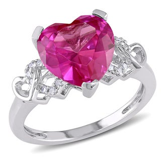Miadora Sterling Silver Created Pink Sapphire and Diamond Accent Heart Ring