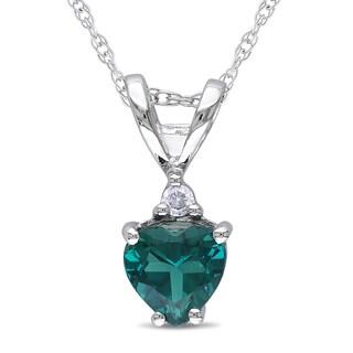 Miadora 10k White Gold Created Emerald and Diamond Accent Heart Necklace