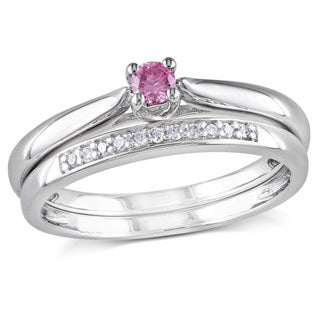 Miadora Sterling Silver Pink Diamond Bridal Ring Set (I1-I2)