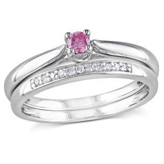 Miadora Sterling Silver 1/6ct TDW Pink and White Diamond Bridal Ring Set (I1-I2)