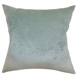 Haye Aqua Solid Feather and Down Filled Throw Pillow