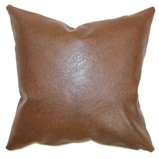 Airlie Brown Faux Leather 18-inch Throw Pillow