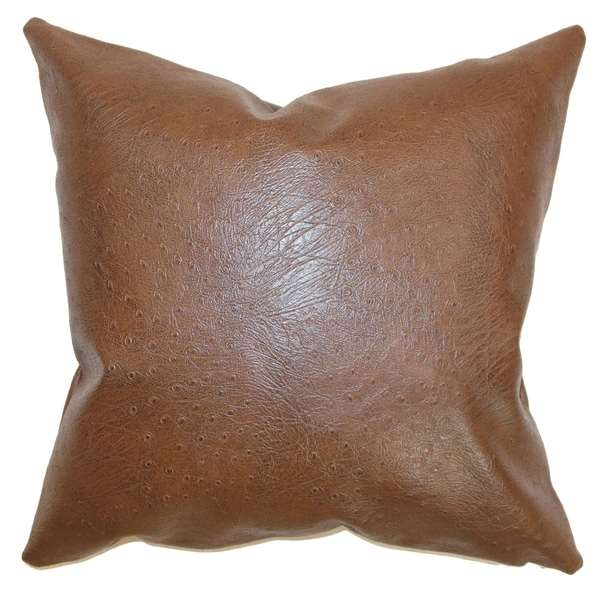 Airlie Brown Faux Leather Feather and Down Filled Throw Pillow