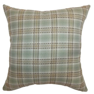 Wacian Aqua and Brown Plaid 18-inch Throw Pillow