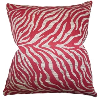 Helaine Pink Zebra Print Feather and Down Filled 18-inch Throw Pillow