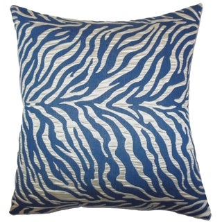 Helaine Blue Zebra Print Feather and Down Filled Throw Pillow