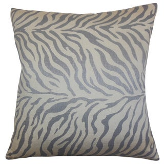 Helaine Slate Zebra Print Feather and Down Filled Throw Pillow