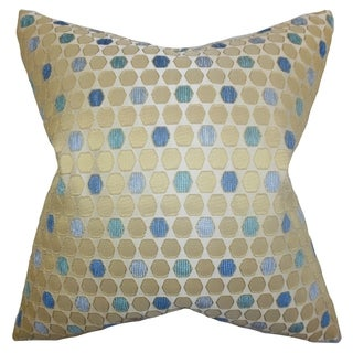 Itzel Topaz Geometric Feather and Down Filled 18-inch Throw Pillow