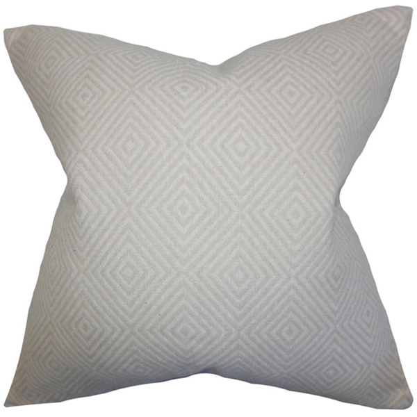 Narva Ecru Geometric Feather and Down Filled Throw Pillow