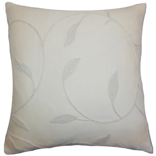 Delyth Vanilla Floral Feather and Down Filled Throw Pillow