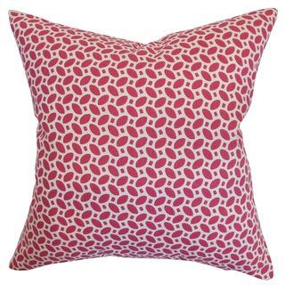 Zlin Raspberry Geometric Feather and Down Filled 18-inch Throw Pillow