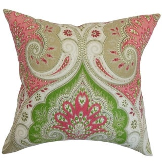 Yakutat Geranium Paisley Feather and Down Filled 18-inch Throw Pillow