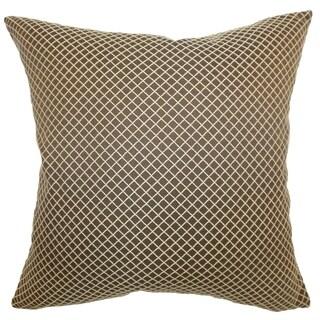 Zenobe Espresso Diamond Feather and Down Filled 18-inch Throw Pillow