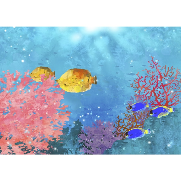 Tropical Fish and Seaweed' Canvas Print Wall Art