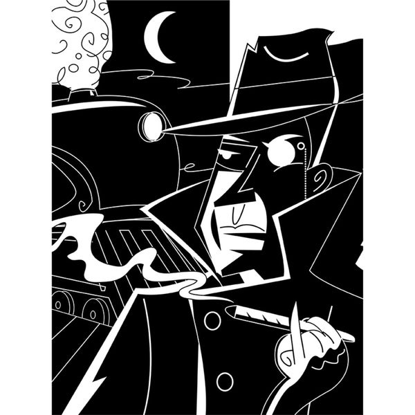 Man with Monocle Smoking Cigar' Wrapped Canvas Wall Art