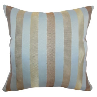 Olivia Tiffany Gold Stripes Feathered Filled 18-inch Throw Pillow