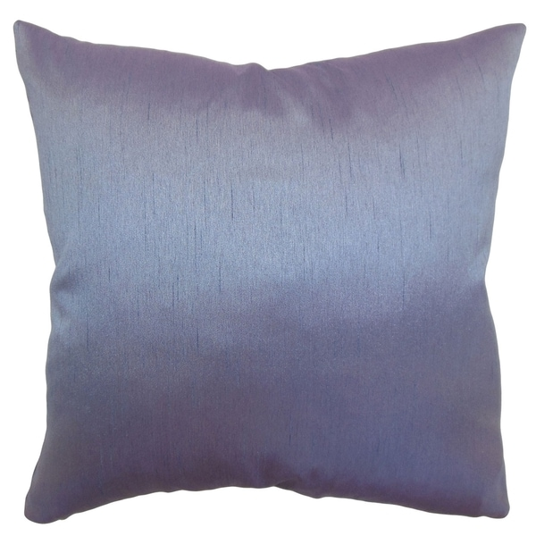 Rosamund Violet Solid Feathered Filled 18-inch Throw Pillow