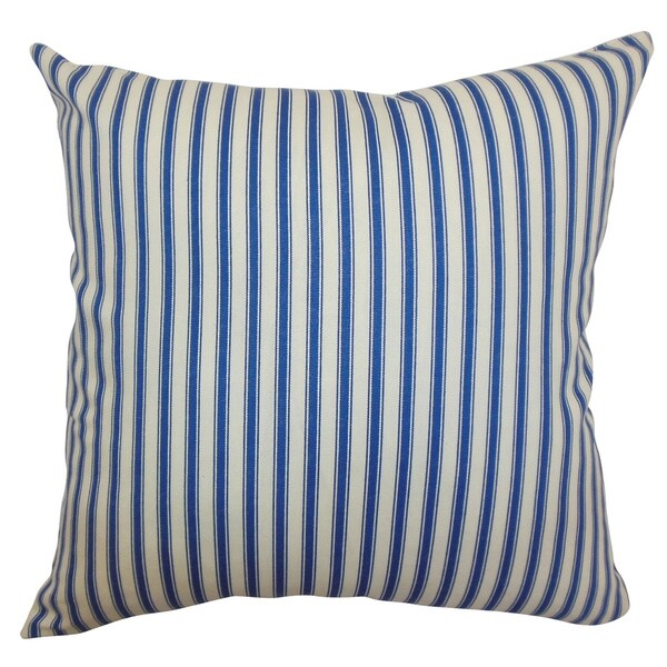 Xander Blue Stripes Feathered Filled Throw Pillow