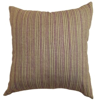 Mace Lime/Purple Stripes Feather and Down Filled Throw Pillow