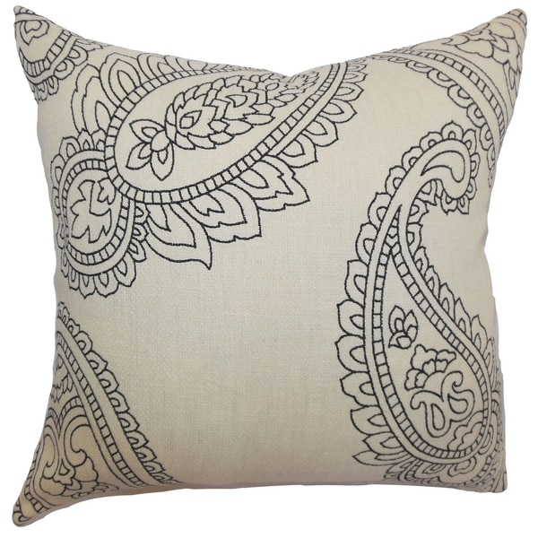 Verity Charcoal Paisley Feathered Filled 18-inch Throw Pillow