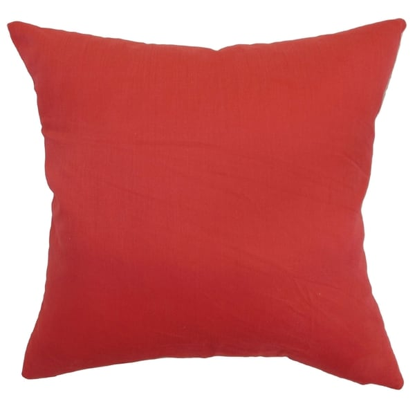 Calvi Red Solid Down Filled Throw Pillow