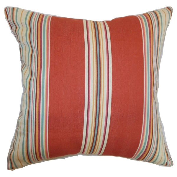 Hyder Red Barn Stripes 18-inch Down Filled Throw Pillow