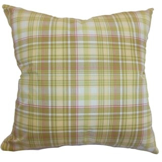 Banff Plaid Lime 18-inch Down Filled Throw Pillow