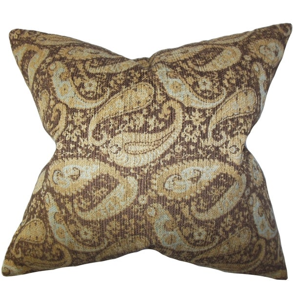 Jewel Brown Paisley Down Filled Throw Pillow
