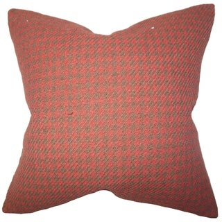 Kosma Red Plaid 18-inch Down Filled Throw Pillow