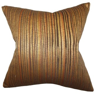 Litzy Stripes Gold Down Filled Throw Pillow