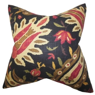 Ozma Floral Black 18-inch Down Filled Throw Pillow