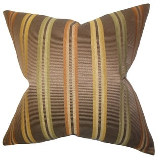 Dorsey Brown Stripes Down Filled Throw Pillow