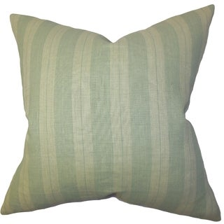 Finlay Green Stripes 18-inch Down Filled Throw Pillow