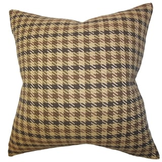 Harbor Brown Plaid 18-inch Down Filled Throw Pillow