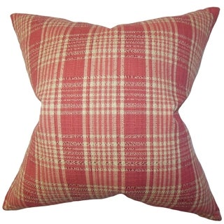 Indre Red Plaid 18-inch Down Filled Throw Pillow