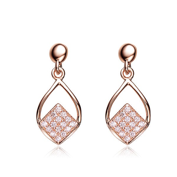 Collette Z Rose-plated Sterling Silver Cubic Zirconia Pear Shape Drop Earrings