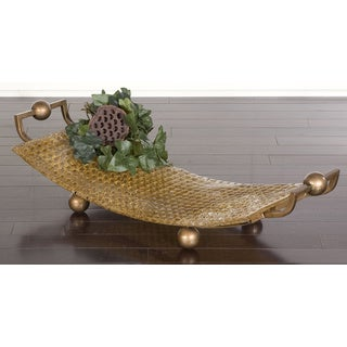 Etro Goldtone Art Glass Decorative Tray